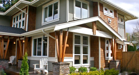 Modern Craftsman Style Siding : Mesmerizing Craftsman Exterior Craftsman Style Siding Mix Of Wood Beams And Colored Siding Stonework And Trim