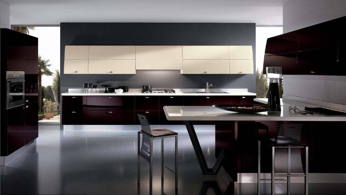 Stunning Sleek Black Kitchen Room Design Ideas : Mesmerizing Dark Black Kitchen Room Design Ideas With Inspiring Island Design Dark Red Kitchen Cupboard Modern Elegant Floor Design
