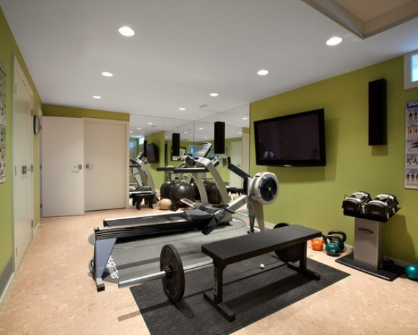 Inspiring Strategically Placed Gym In A Stylist Living Room: Mesmerizing Decoration For Your Home Gym Design Ideas With Nice Geen Painted Wall Decor Fitness Equipments Weight Benches Dumbblles Big Mirror