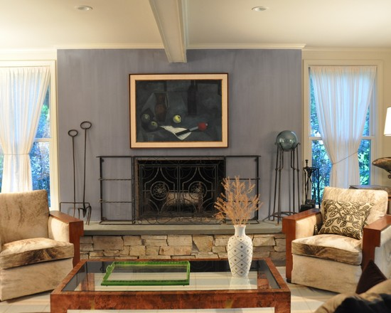 Various Fireplace And Firebox Designs: Midcentury Family Room Built On Site And Handling With Paint Firebox