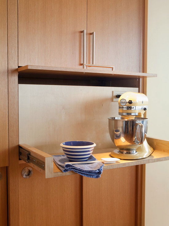 Kitchen Aid Cabinets With Popup Mixer Shelf: Midcentury Kitchen Ordinary Mixer Shelf With A Tambour Style Door Lifts Up While The Entire Shelf Pulls Forward Pull Out Mixer Shelf With Integrated Outlet Wide Drawer And Cabinet