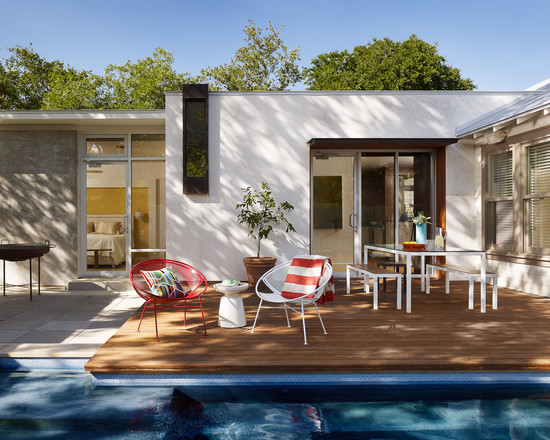 Interesting Photos of Wood Decks : Midcentury New Ipe Deck And Pool Built Over A Concrete Patio With The Red And White Chairs