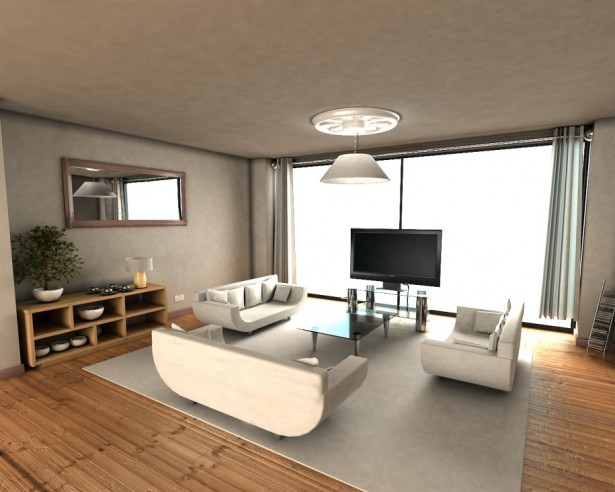 Minimalist Apartment Interior Designs in Modern Way: Minimalist Look Wide Wndows Grey Rug Wooden Floor ~ stevenwardhair.com Apartments Inspiration