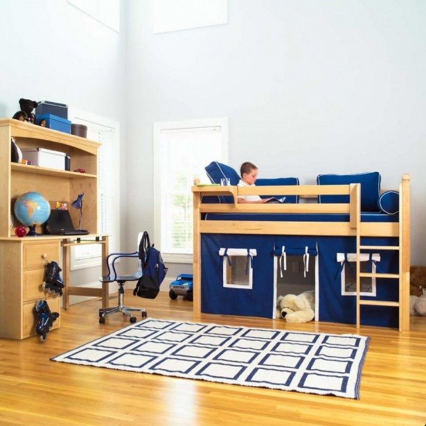 Minimalist Sweet Combination Kids Loft Bed: Minimalist Room Blue Hue Boys Room With Surprising Loft Bed And Wooden Floor Design Ideas And Remarkable Study Desk ~ stevenwardhair.com Bed Ideas Inspiration