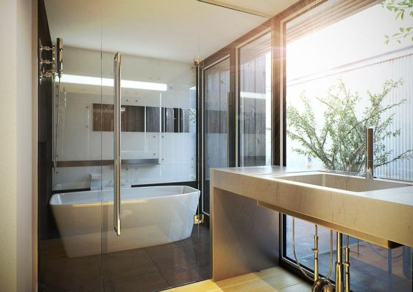 Fascinating Wooden Japanese Bathroom Deign For Relaxation : Minimalist White Japanese Contemporary Bathroom With Amusing Marble Floor And Big Glass Windows