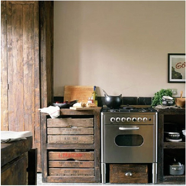 Unique & Unusual Kitchen Cabinets Styles Design: Mismatched DIY Kitchen Cabinet Design From Recycled Shipping Crates To Thrift Shop Furniture Finds To Quirky Metal Filing Cabinets Ideas