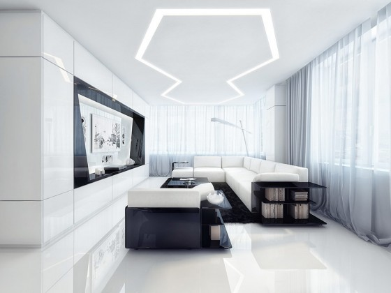 Futuristic Black And White Stylish Apartment Design: Modern Amazing Apartment Room Style Bright White And Black Entertaining Interior Design L Shaped Cozy Sofa Built In Tv Cabiet Nice Floor Design