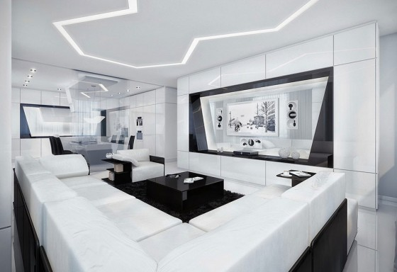 Futuristic Black And White Stylish Apartment Design: Modern Amazing Apartment Room Style Elegant White Sofa For Great Living Room Apartment And Black Fur Rugs Built In Tc Cabinet Nice Ceiling