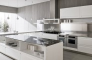 Futuristic Italian Kitchen With an Additional Modern Touch : Modern And Contemporary Styles Italian Kitchen Design With White Cabinets White Steel Island Concrete Wall