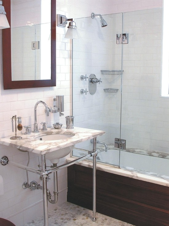 Inexpensive Bathroom Remodel Examples For Home: Modern Bathroom Marble Washstand And Bathtub With Glass Wall As Inexpensive Bathroom Remodeling Ideas