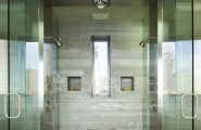 Various Dual Shower Designs : Modern Bathroom Shower Wall And Ceiling Tile And Larger Tiles On Floor Multiple Showers Space Concrete Formed Shower