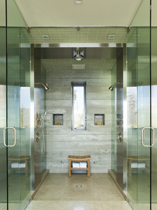 Various Dual Shower Designs: Modern Bathroom Shower Wall And Ceiling Tile And Larger Tiles On Floor Multiple Showers Space Concrete Formed Shower