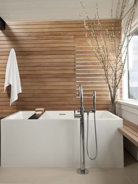 Amazing Simple Minimalist Wood Slats For Walls: Modern Bathroom With Natural Teak Wood Wall Slats And Bench Againts The White Of Modern Bathtub Minimalist Room A Relaxing Asian Feel