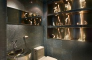 Excellent Bathroom With Toilet And Bidet Combination : Modern Bathroom With Spectacular Toilet And Bidet Combinations Stainless Steel Washstand Marble Floor