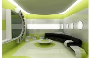 Beautiful Office Interior Designs in Modern Concept : Modern Beautiful Office Interior Designs With Look Lime Green Hue Black Couch White Round Table