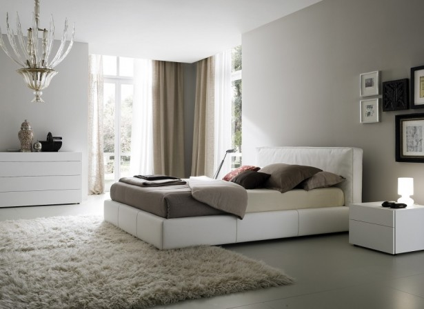 Sleek Bedroom Decor Ideas With Integrated Room: Modern Bedroom Design White Bed Frame White Cabinet With Extraordinary Wooden Floor Ideas And Cream Rug Brown Curtain ~ stevenwardhair.com Bed Ideas Inspiration