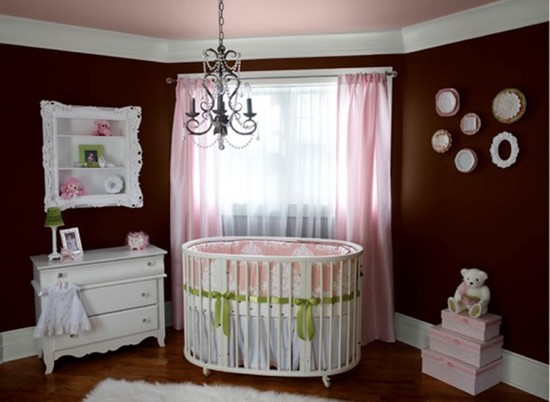 Elegance Dark Brown Paint Colors : Modern Bedroom Nursery With The Brown Walls With The White Trim Accented To Contrast Light Pink And Shadow Box Frame Shelving