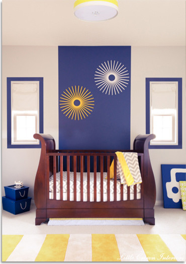 Inspiring Modern Nursery Ideas For Boys: Modern Boys Nursery With Yellow Nursery And Wood Cradles Bed