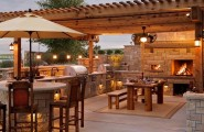 Inspiring Display Of Completed Outdoor Kitchens : Modern Completed Outdoor Kitchens Design Ideas A Romantic Outdoor Kitchen With A Dining Area Titivated With Vines And Made Use Of Wooden Elements