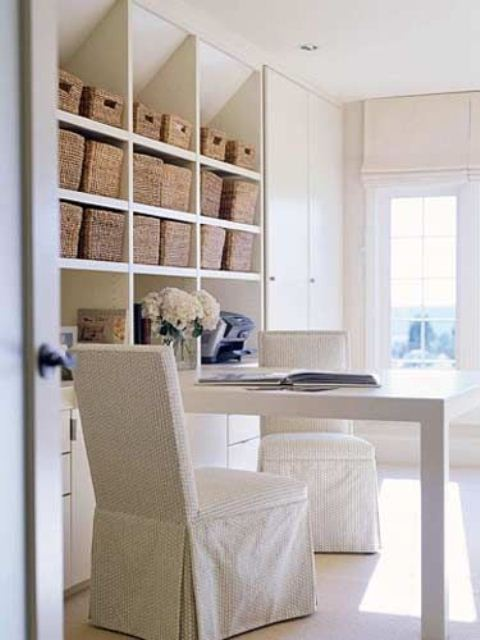 Charming And Thoughtful Home Office Storage Ideas: Modern Contemporary Home Office Storage Solution Ideas With Lightweight Easy To Clean And Looks Amazing Storage Decoration With Desk And Chair And Bright White Painted Wall ~ stevenwardhair.com Bookshelves Inspiration
