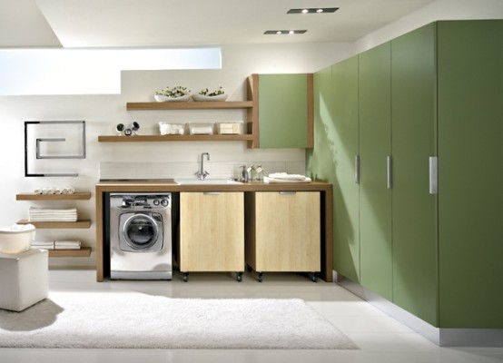 Modern Laundry Room Design and Furniture : Modern Design Walnut Laundary Room Furniture With Rounded Cornersand Green Cabinets3