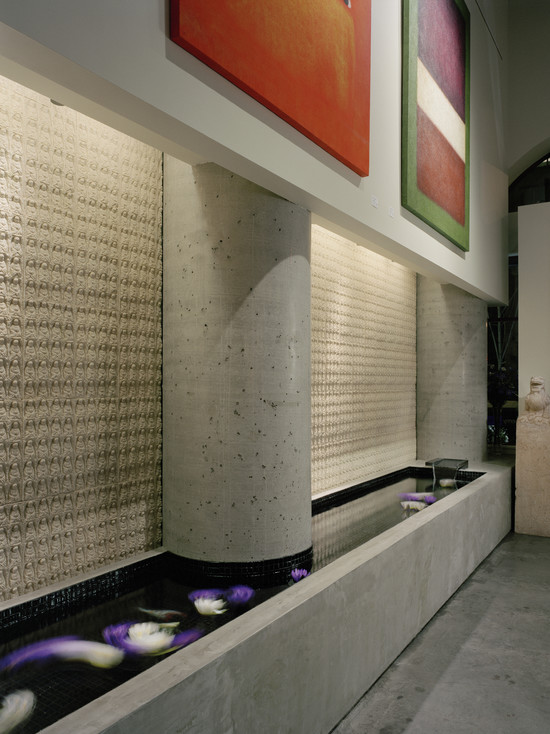 Excellent Indoor Water Feature: Modern Entry With The Tiles On The Wall Above This Water Feature Look Like They Are Made Of Concrete ~ stevenwardhair.com Design & Decorating Inspiration