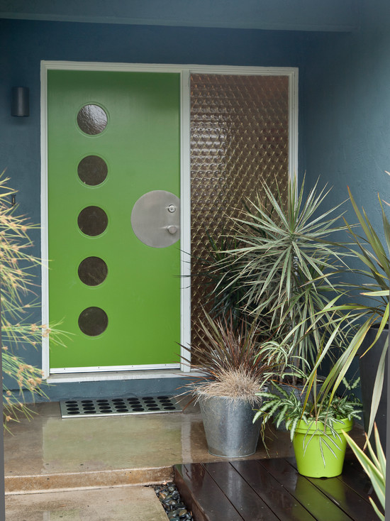 Mid Century Modern Front Doors: Modern Exterior Colorful Mid Century Modern Residence Original Grade Door Had The Circles Cut And Glass Inserted And The Custom Metal Plate Made By A Metal Person
