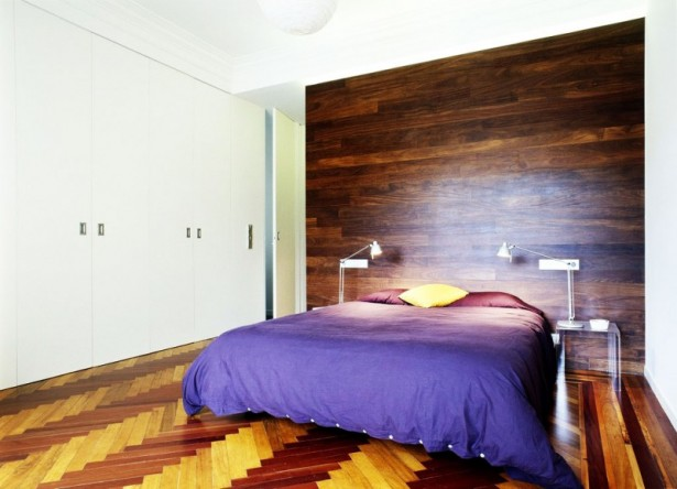 Modern Furniture Decoration for Contemporary Apartment: Modern Furniture Decoration For Contemporary Apartment With Blue Bedcover Two Purple Large Pillows Yellow Small Pillow Laminate Wall White Wardrobe ~ stevenwardhair.com Apartments Inspiration