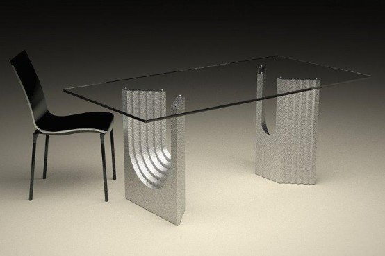 Coffee and Dining Tables with Transparent Glass: Modern Glass Top Coffee And Dining Tables With Colored Bases Small Stretch Of Paper On With Black Chair1
