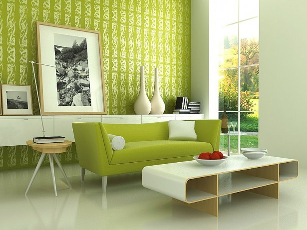 Green Color Apartment Furnitures Themes Four Young Couple: Modern Green Sofas Lime Green Sofas White Table WOoden Round Table Green Patterned Wall Panel ~ stevenwardhair.com Apartments Inspiration