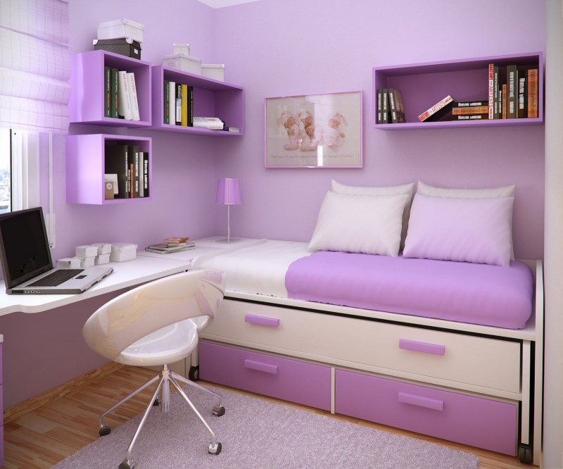 Inspiring Kids Planning Girls Bedroom Using Colorfull Patern: Modern Inspiring Girls Planning Bedroom Design Ideas Purple White Color Interior Cozy Bunk Bed Hanging Cabinet Tiny Study Table