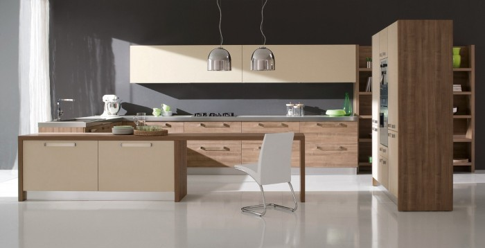 Futuristic Italian Kitchen With an Additional Modern Touch: Modern Italian Kitchen Furniture Designs Ideas With Cream Cabinet Wooden Cabinets Wooden Island White Chair