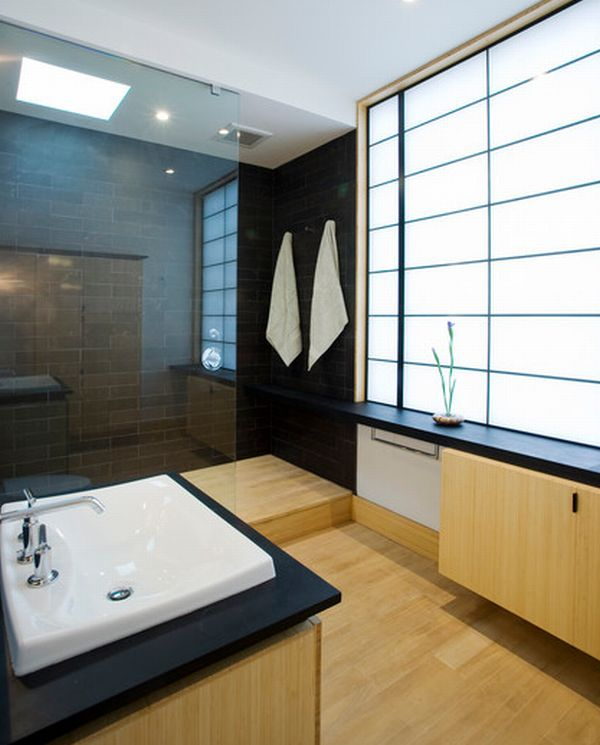 Fascinating Wooden Japanese Bathroom Deign For Relaxation: Modern Japanese Bathroom With Opaque Glass Window Laminated Wooden Floor And Insteresting Frame Windows