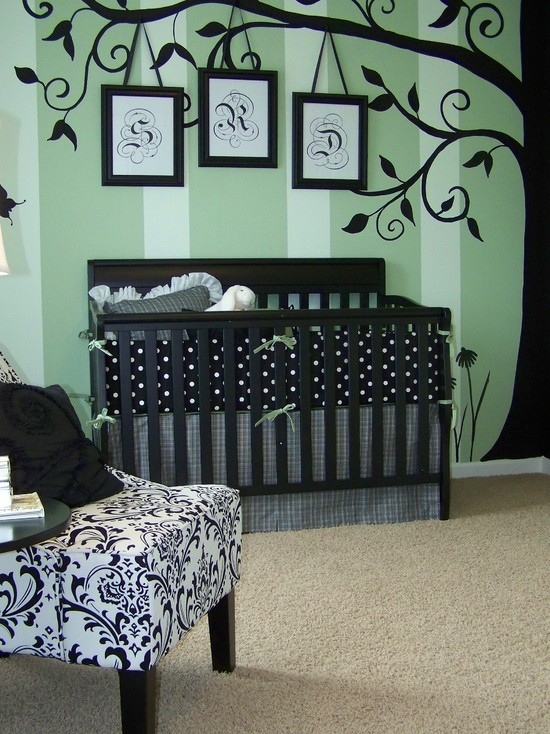 Interesting Unisex Baby Room Themes: Modern Kids Nursery With A Tree Of Your Life Concept Wallpaper Sweetbriar And Green Crystal By Porter Paints
