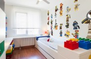 Wonderful Kids Room With Lego Storage Cube : Modern Kids Small Room Storage Ideas With Lego Guys On The Wall And X Large Lego Storage Brick Plus Ceiling Fan
