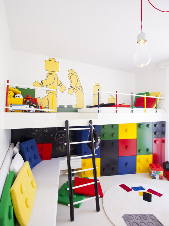 Wonderful Kids Room With Lego Storage Cube: Modern Kids With Huge Legos Pillows And Lego Style Cabinets For The Boys Color Made With Formic Varnished Lego Theme Toys Throw Pillows Floor Cushions Drawers Decals And Rugs
