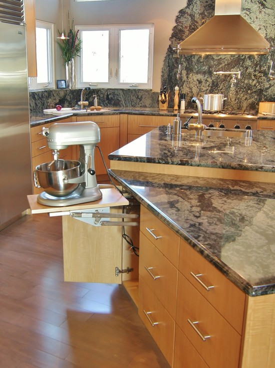 Kitchen Aid Cabinets With Popup Mixer Shelf: Modern Kitchen Aid Pop Up Cabinet Drawer For Heavy Mixer Marble Counter Top