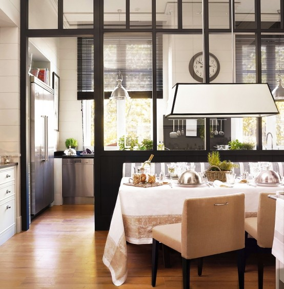 Stylish Design Of A Modern Combined Kitchen And Dining Space : Modern Kitchen And Dining Space Combined With A Set Elegant Dinning Room Inspiration Furniture And Pendant With Custom Wood Divider To Kitchen Using Parquet