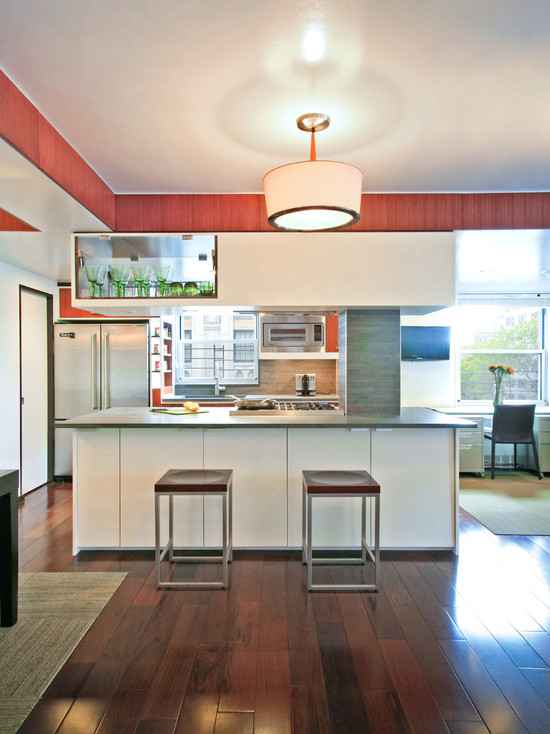 Interesting Bamboo Floor In Kitchen : Modern Kitchen Separated Kitchen With Open Views Wide Plank Bamboo Floors White Gray Island Glossy Countertops