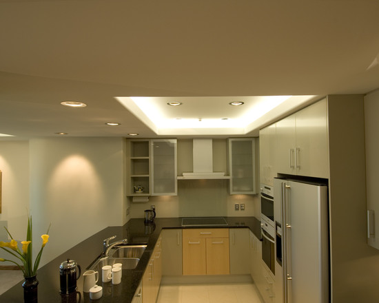 Some Interesting Pictures About Recessed Ceiling Design : Modern Kitchen With Curved Recessed Ceiling At The Edges Within Recessed Box Similar To Our Kitchen Set Up