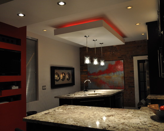 modern minimalis track lights design in the kitchen modern kitchen with dining room ceiling feature