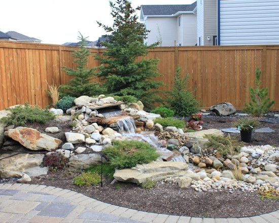 Creative Excellent Pondless Water Fountains: Modern Landscape Backyard Pondless Water Feature And Waterscape