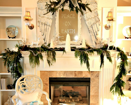 Beautiful Pictures of Mantels Decorated Special For Christmas: Modern Living Room With Fireplace And Christmas Mantels Decoration