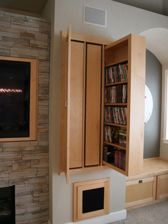 Various Cool Dvd Storage Ideas: Modern Living Room With Low Seating Bench With Storage Built In Beside Pull Out Storage Cabinets That Flank The Fireplace And Seats With Storage Underneath To The Side Of The Cabinets