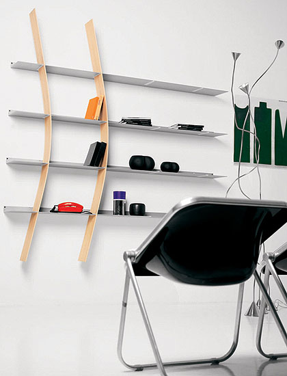 Cool DVD Storage Ideas: Modern Matt Silver Finished Wall Mounted DVD Steel Shelves Design