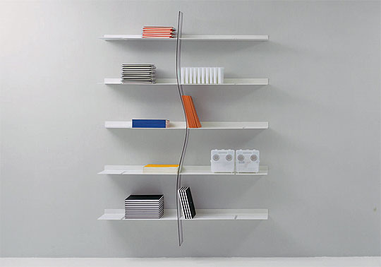 Cool DVD Storage Ideas : Modern Matt White Finished Wall Mounted DVD Steel Shelves Design