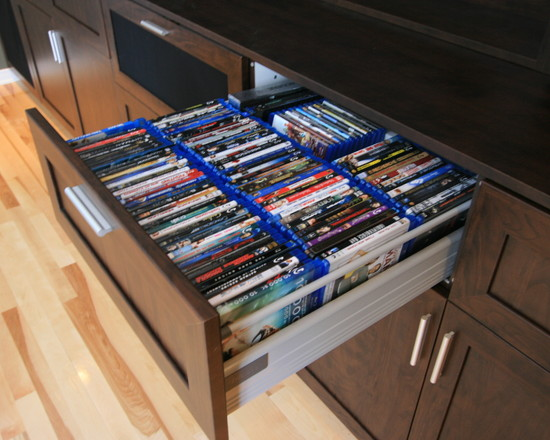 Various Cool Dvd Storage Ideas: Modern Media Room DVD Blu Ray CD Storage Drawer