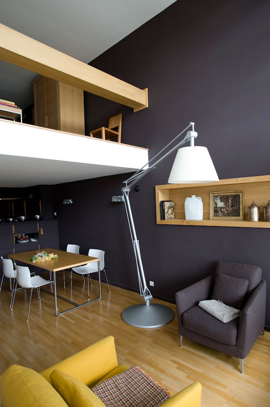 Beautiful Modern Mezzanines Design To Increase Square Footage Inspiration Ideas Part-1: Modern Mezzanine Dark Walls Under A White Ceiling Split By A Mezzanine Showcasing A Large Wooden Rail Compose A Sleek And Elegant Design Match