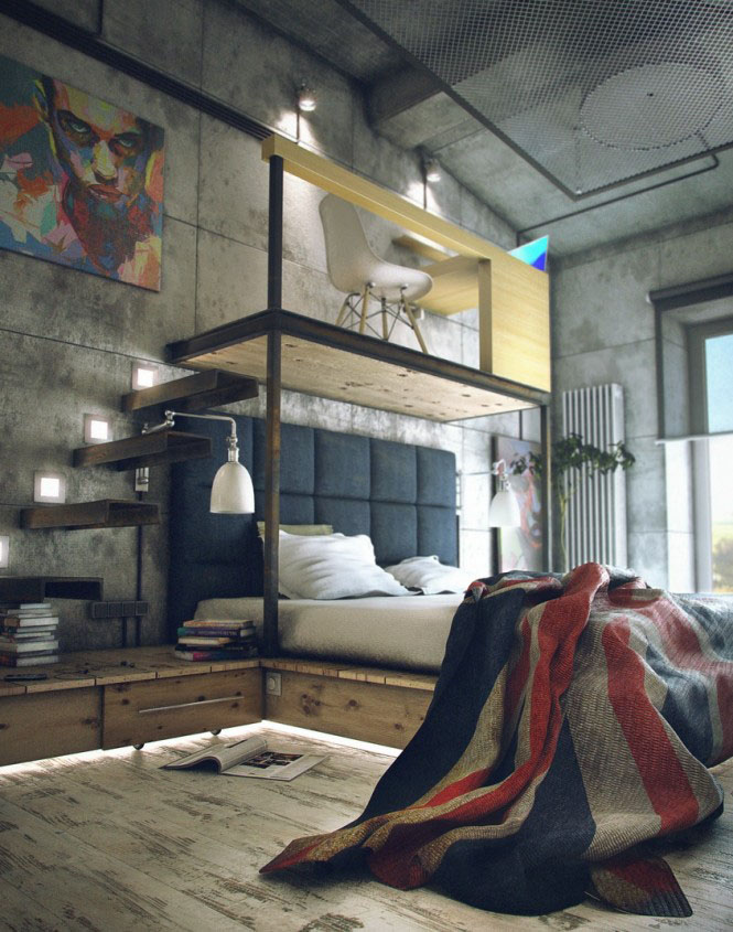Beautiful Modern Mezzanines Design To Increase Square Footage Inspiration Ideas Part-1 : Modern Mezzanine Design Cool Industrial Bachelor Simple Platform Loft Office Space With Desk Or Railing Oriented Levitating Above The Bed And Floating Stairs Design