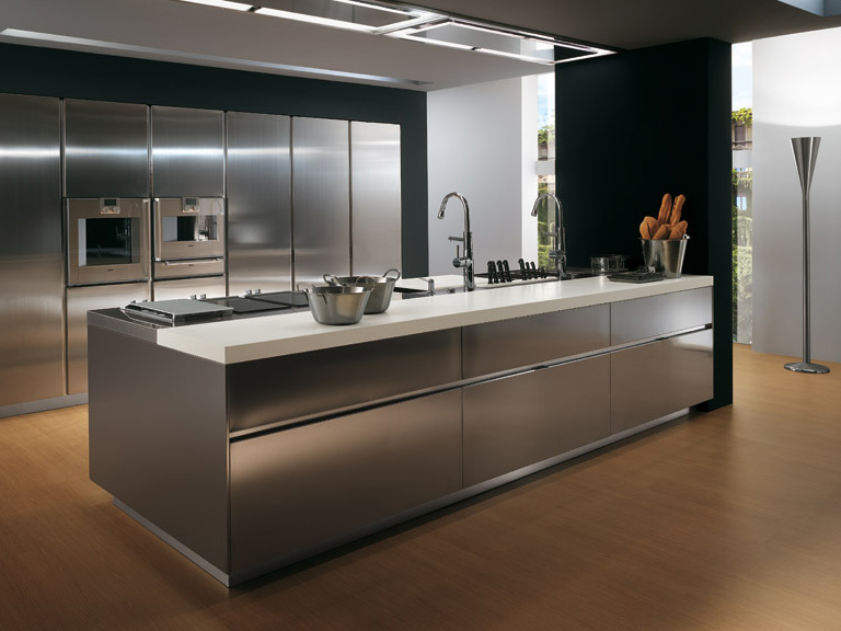 Modern Minimalist Stainless Steel Kitchen Inspiration Designs : Modern Minimalist Stainless Steel Kitchen Inspiration Designs With Wooden Floor Black Wall Stainless Steel Kitchen Cabinets